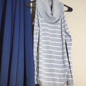 Grey/white stripe cowl neck cold shoulder sweater